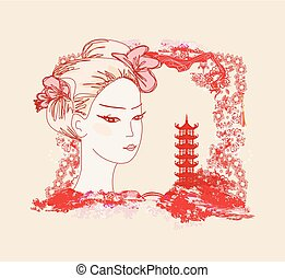 abstract landscape with Asian girl