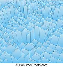 Abstract landscape with blue cubes. Abstract topographies of digital space. Fields of geometry. Abstract city with skyscrapers. Vector background. Eps 10