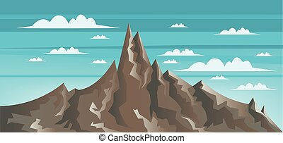 Abstract landscape with brown mount