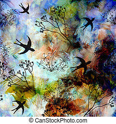 Abstract landscape with flying swallows in blue sky on...