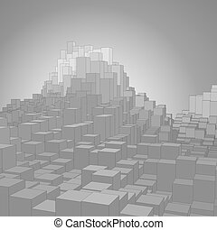 Abstract landscape with gray cubes. Abstract topographies of digital space. Fields of geometry. Abstract city with skyscrapers. Vector background. Eps 10