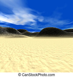 Abstract landscape with hills and sand
