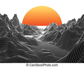 Abstract landscape with sphere sun on white. Technology vector background.