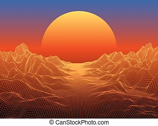 Abstract landscape with sphere sun on horizon. Technology  background.