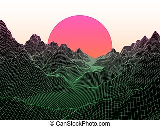 Abstract landscape with sphere sun. Technology vector background.