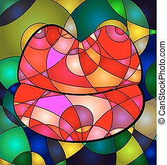 abstract large colored lips - abstract colored background...