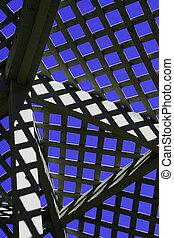 Abstract lattice in garden pergola