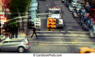 abstract layered manhattan street scene with traffic and...