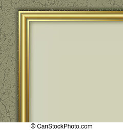 abstract layout with golden frame on cracked background