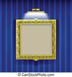 abstract layout with frame and spotlight - golden square...