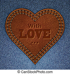 Abstract leather heart on jeans background. Valentine day greeting card. Vector eps10 illustration