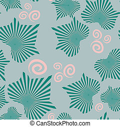 Abstract leaves on seamless pattern