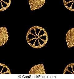 Abstract lemon pattern. Gold hand painted seamless background. Citrus fruit golden illustration.