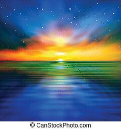 abstract, lente, achtergrond, met, zee, ondergaande zon