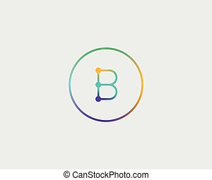 Abstract letter B logo design template. Colorful lined creative sign. Universal vector icon.