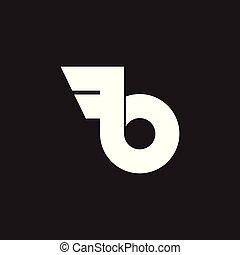 abstract letter b simple wings loop logo vector