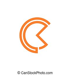 abstract letter ck stripes circle logo vector