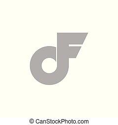 abstract letter df simple wings loop logo vector
