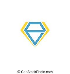 abstract letter e diamond geometric design symbol vector