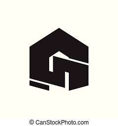 abstract letter g geometric design logo vector