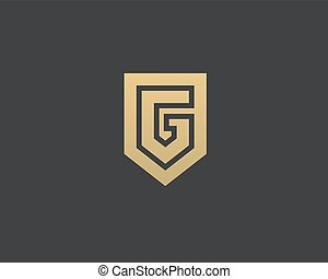 Abstract letter G shield logo design template. Premium...