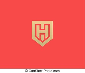 Abstract letter H shield logo design template. Premium nominal monogram business sign. Universal foundation vector icon