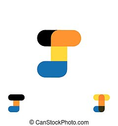 abstract letter J logo design vector template and colorful creative character icon sign