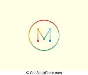 Abstract letter M logo design template. Colorful lined creative sign. Universal vector icon.