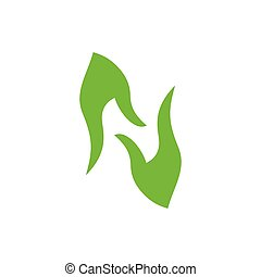 abstract letter n hand palm care green leaf design logo vector