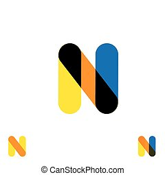 abstract letter N logo design vector template and colorful creative character icon sign