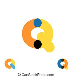 abstract letter Q logo design vector template and colorful creative character icon sign