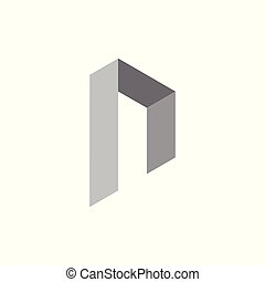 abstract letter r 3d design logo vector