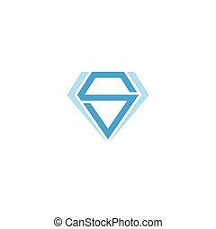 abstract letter s blue diamond geometric design symbol vector