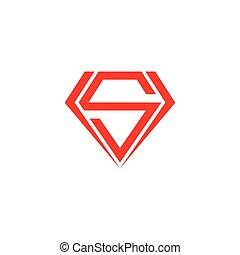 abstract letter s diamond geometric design symbol vector