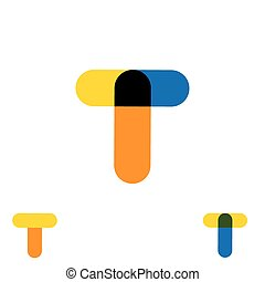 abstract letter T logo design vector template and colorful creative character icon sign