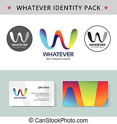 Abstract letter W identity pack vector concept. Logo, vizit cards, and other id blanks. Good for company branding set.
