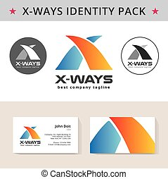 Abstract letter X identity pack vector concept. Logo, vizit...