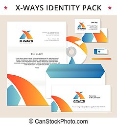 Abstract letter X identity pack vector concept. Logo, vizit cards, cd, letter, usb flash drive, pencil, folder and other id blanks. Good for company branding set.