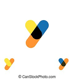 abstract letter Y logo design vector template and colorful creative character icon sign