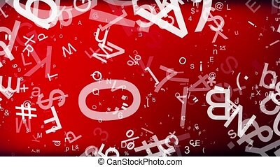 Abstract letters and symbols on red