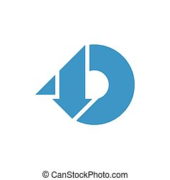 abstract letters d geometric down up logo vector