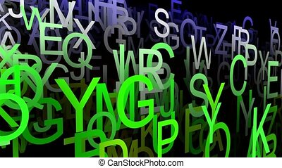 Abstract letters in green color