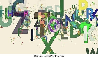 Abstract letters in various colors