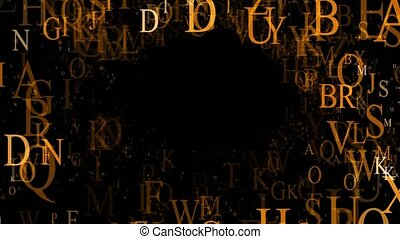 Abstract letters on a black background