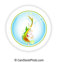 abstract life tree with bubblies in round icon - bright...