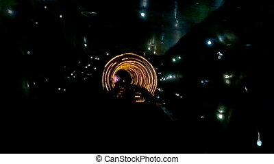 Abstract light and speed motion tunnel.
