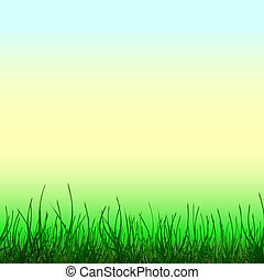 Abstract light background with green grass