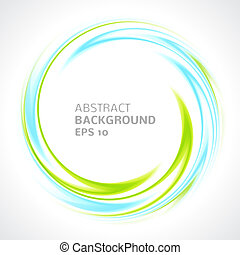 Abstract light blue and green swirl circle bright background