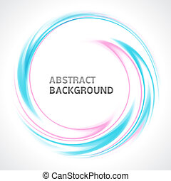 Abstract light blue and pink swirl circle bright background. Vector illustration for you modern design. Round frame or banner with place for text.