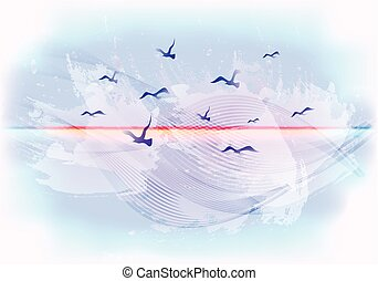 Abstract light blue sky background with birds flying in the clouds. EPS10 vector illustration
